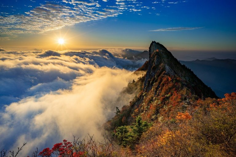 mountain, summit, sunrise